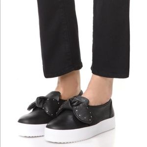 NEW Rebecca Minkoff Leather Bow Slip On Sneakers